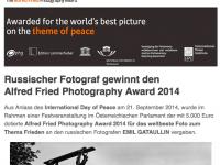 Russischer Fotograf gewinnt den Alfred Fried Photography Award 2014