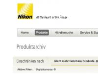 Nikon nicht mehr lieferbar – das Produktarchiv von Nikon