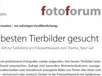 """fotoforum ruft zur Teilnahme am Fotowettbewerb zum Thema """"Tiere"""" auf"""