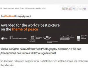 """Helena Schätzle beim Alfred Fried Photography Award 2016 für das """"Friedensbild des Jahres 2016"""" ausgezeichnet"""