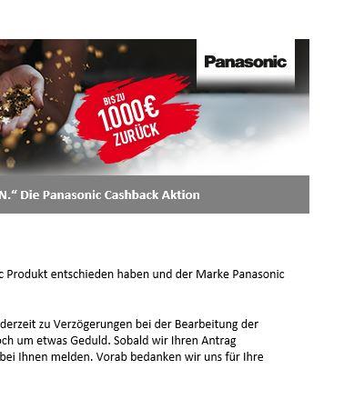 """""""PURE MAGIE ERLEBEN."""" Die Panasonic Cashback Aktion klappt nicht"""